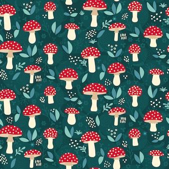 Бесшовный фон с грибами мухомор красный мухомор