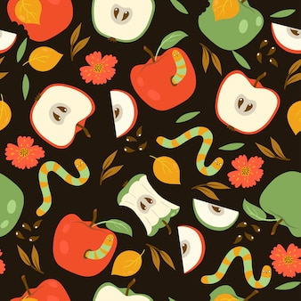 Seamless pattern with red and green apples and worms on a dark background.  graphics.