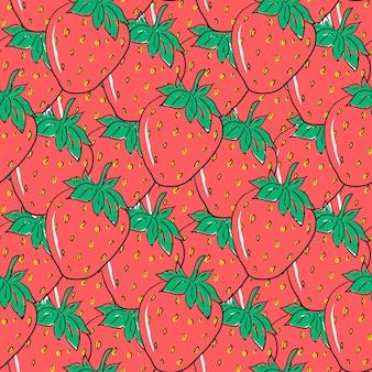 赤い手描きのイチゴとシームレスなパターン。包装紙、繊維、包装用のかわいい果実