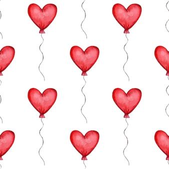 Seamless pattern with red heart shaped balloons valentines day pattern vector illustration