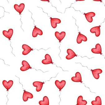 Seamless pattern with red heart shaped balloons. valentines day pattern. vector illustration