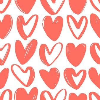 화이트에 거친 등고선으로 그려진 붉은 마음으로 완벽 한 패턴