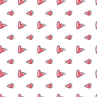 낙서 스타일에 붉은 마음으로 완벽 한 패턴입니다.