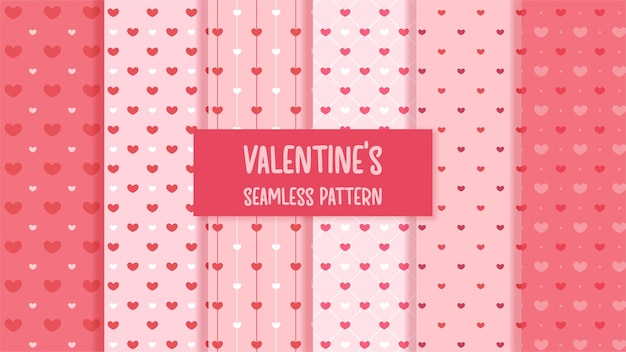 Seamless pattern with red hearts valentine.