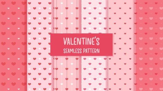 赤いハートのバレンタインとのシームレスなパターン。
