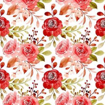 赤い栗色の花の水彩画とのシームレスなパターン