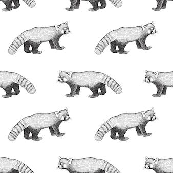 レッサーパンダとのシームレスなパターン。