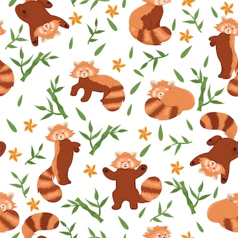 Seamless pattern with red pandas and bamboo on a white background.