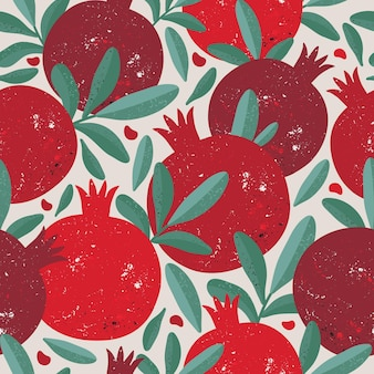 Seamless pattern with red pomegranate fruits