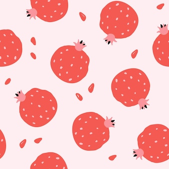분홍색 바탕에 붉은 석류와 함께 완벽 한 패턴입니다. 현대적인 평면 스타일, 멤피스 디자인. 손으로 그린 벡터 일러스트 레이 션. 인쇄, 직물, 섬유, 벽지 질감.