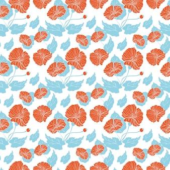 흰색 바탕에 빨간 양 귀 비와 함께 완벽 한 패턴입니다. 꽃 배경입니다.