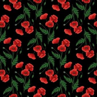 赤いポピーの花とのシームレスなパターン。 papaver。緑の茎と葉。手描きのベクトル図です。黒の背景に。