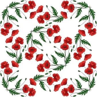 赤いポピーの花とのシームレスなパターン。 papaver。緑の茎と葉。手描きのベクトル図です。白い背景に。