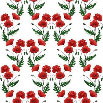 빨간 양 귀 비 꽃으로 완벽 한 패턴입니다. 양귀비. 녹색 줄기와 잎입니다. 손으로 그린된 벡터