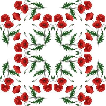 빨간 양 귀 비 꽃과 원활한 패턴 양귀비속 녹색 줄기와 잎 손으로 그린된 벡터