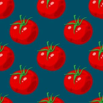 Бесшовный фон с красными спелыми помидорами