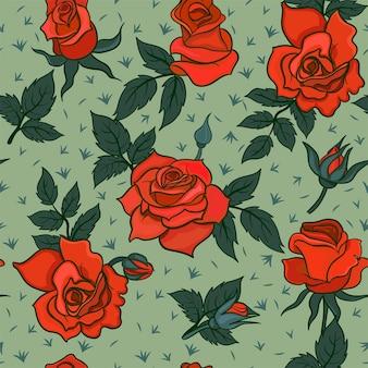 Бесшовный фон с красными розами
