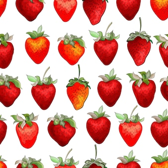 赤いイチゴとのシームレスなパターン。