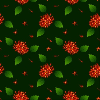 Seamless pattern with red tropical flowers