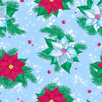 Seamless pattern with red and white poinsettia. christmas or new year winter
