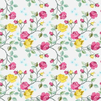 Seamless pattern with red and yellow roses for fabric textile wallpaper.