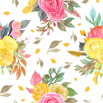 Seamless pattern with red and yellow roses