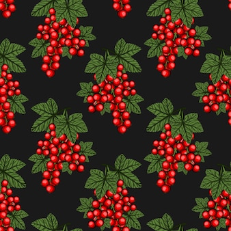 Seamless pattern with redcurrant.