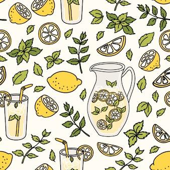 Seamless pattern with refreshing lemonade