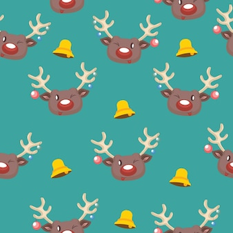 Seamless pattern with reindeer and bell motif