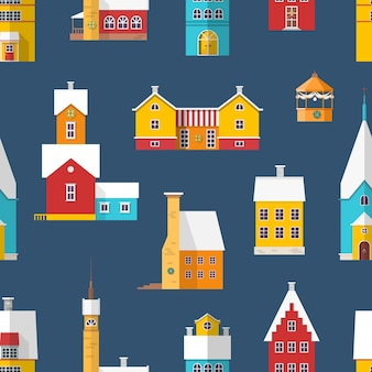 Seamless pattern with residential buildings and chapels decorated for christmas.