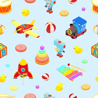 Seamless pattern with the retro colored toys