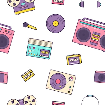 Seamless pattern with retro electronic devices on white