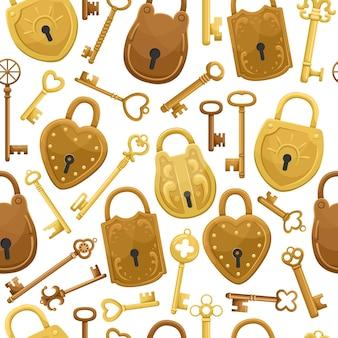 Seamless pattern with retro keys and locks.