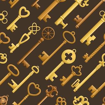 Seamless pattern with retro keys.