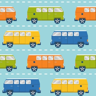 Seamless pattern with retro minivans