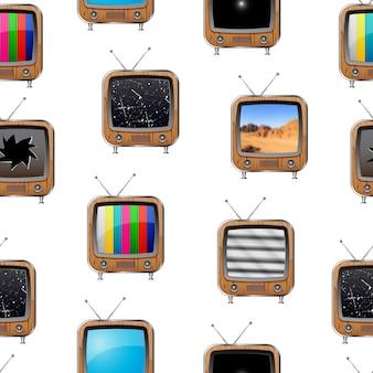 レトロなテレビとのシームレスなパターン。カラフルな抽象的な背景。