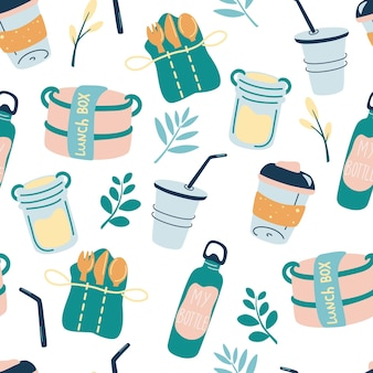 Seamless pattern with reusable products eco friendly wallpaper concept