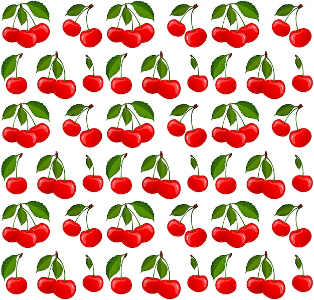 Seamless pattern with ripe cherry berries vector