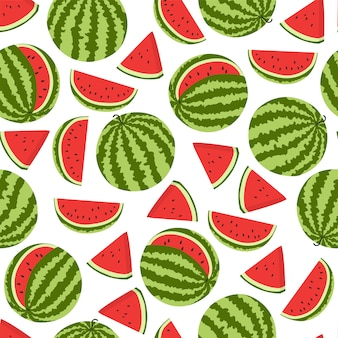 Seamless pattern with ripe watermelons.