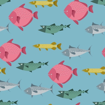 Seamless pattern with river and sea fishes - pike, tuna, flounder and salmon