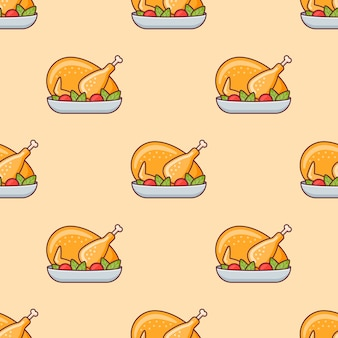 Seamless pattern with roasted turkey or chicken.
