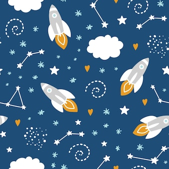 Seamless pattern with rocket and stars in space