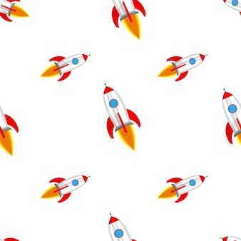 ロケットとのシームレスなパターン。抽象的なロケット船のパターン。
