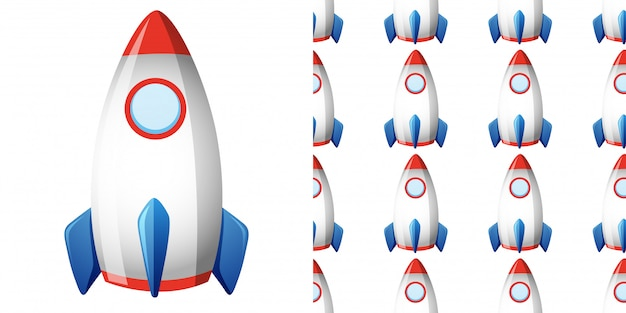 Seamless pattern with rocketship