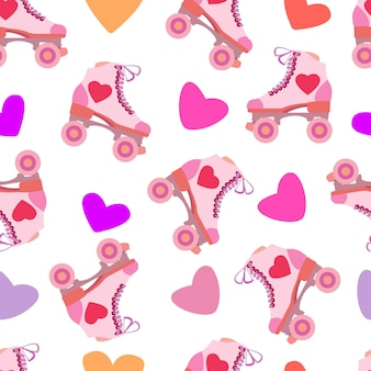 Seamless pattern with rollers quads and hearts