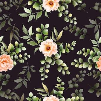 Бесшовный фон с романтической цветочной рисованной