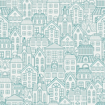 Seamless pattern with roofs and houses.