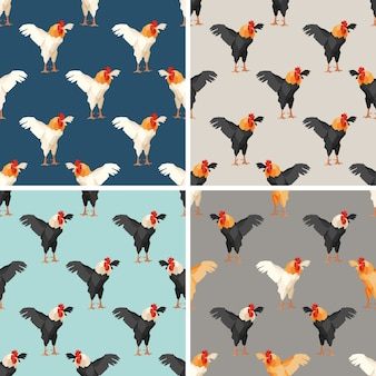 Seamless pattern with rooster. set