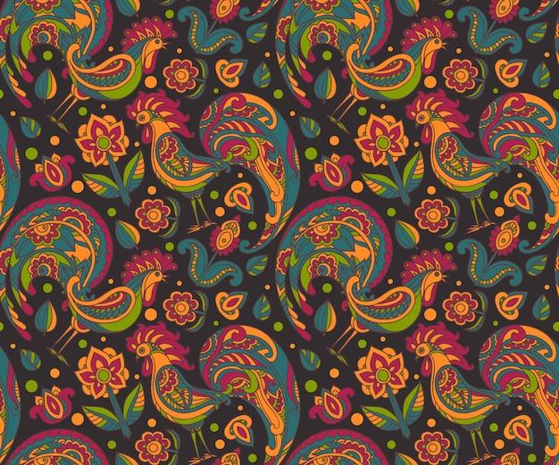 수 탉과 꽃으로 완벽 한 패턴