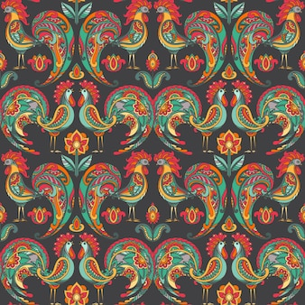 Seamless pattern with roosters and flowers